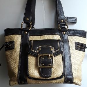 Coach Legacy straw & leather tote